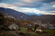 An out building and hay stacks at a rural homestead mountains of northern Albania on the 12th of December 2018, the views from the homestead include the Valbona Valley National Park and the village of Dushaj, Tropojë Albania.
