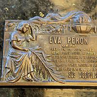 South America, Argentina, Buenos Aires. Tomb of Eva Peron Plaque at La Recoleta Cemetary.