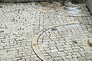 Detail of paved courtyard, Fortress Lovrinjenac (Fort of Saint Lawrence), Dubrovnik old town, Croatia
