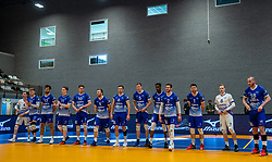 Team Lycurgus before the start of the cup final between Amysoft Lycurgus vs. Draisma Dynamo on April 18, 2021 in sports hall Alfa College in Groningen