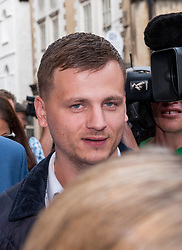 © Licensed to London News Pictures. 14/08/2018. Bristol, UK. RYAN HALE leaves Bristol Crown court today after England cricketer Ben Stokes and Ryan Ali were acquitted by a jury on charges of affray that relate to a fight outside a Bristol nightclub on September 25 2017. Ryan Hale was found not guilty on the same charge last week. England cricketer Ben Stokes, Ryan Hale and Ryan Ali all denied the charge. They were charged with affray in the Clifton Triangle area of Bristol on September 25 last year, several hours after England had played a one-day international against the West Indies in the city. Ali allegedly suffered a fractured eye socket in the incident. Photo credit: Simon Chapman/LNP
