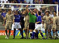 Photo: Richard Lane.<br />Leicester City v Barcelona. Pre-season friendly. 08/08/2003.<br />Referee, Alan Wiley sends off Philip Cocu.
