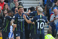 BRIGHTON, ENGLAND - MAY 12:  Kyle Walker (2) of Manchester City and Sergio Aguero (10) of Manchester City celebrate after Ilkay Gundogan (8) of Manchester City scores a goal to make the score 1-4  during the Premier League match between Brighton & Hove Albion and Manchester City at American Express Community Stadium on May 12, 2019 in Brighton, United Kingdom. (MB Media)