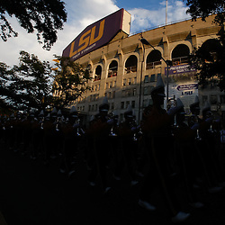 Sep 25, 2010; Baton Rouge, LA, USA; The LSU Tiger Band is seen silhouetted as they march down Victory Hill outside prior to a game between the LSU Tigers and the West Virginia Mountaineers at Tiger Stadium.  Mandatory Credit: Derick E. Hingle
