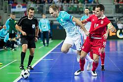 Kristjan Cujec of Slovenia and Slobodan Rajcevic of Serbia during futsal match between Slovenia and Serbia at Day 1 of UEFA Futsal EURO 2018, on January 30, 2018 in Arena Stozice, Ljubljana, Slovenia. Photo by Urban Urbanc / Sportida