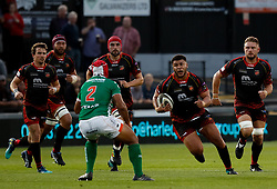 Dragons' Leon Brown on the charge<br /> <br /> Photographer Simon King/Replay Images<br /> <br /> Guinness PRO14 Round 1 - Dragons v Benetton Treviso - Saturday 1st September 2018 - Rodney Parade - Newport<br /> <br /> World Copyright © Replay Images . All rights reserved. info@replayimages.co.uk - http://replayimages.co.uk