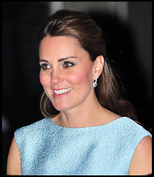 The Duchess of Cambridge leaves the National Portrait Gallery after an evening reception celebrating the work of the charity 'The Art Room', National Portrait Gallery, London, UK, April 24, 2013. Photo by: Daniel Leal-Olivas / i-Images
