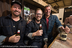 Michael Kuratli,  Kai Glatt, Per Krogh (left to right) of Rokker Clothing at EICMA, the largest international motorcycle exhibition in the world. Milan, Italy. November 21, 2015.  Photography ©2015 Michael Lichter.