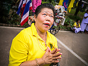 04 DECEMBER 2012 - BANGKOK, THAILAND:  A woman wearing yellow looks up to the King's balcony while praying for his health in the courtyard at Siriraj Hospital. Yellow is the official color of the Thai King, who celebrates his 85th birthday Wednesday, Dec. 5. The King lives in Siriraj. He is expected to make a rare public appearance and address the nation from Mukkhadej balcony of the Ananta Samakhom Throne Hall in the Royal Plaza. The last time he did so was in 2006. His birthday is a public holiday in Thailand and hundreds of thousands of people are expected to jam the streets around the Royal Plaza and Grand Palace to participate in the festivities.   PHOTO BY JACK KURTZ