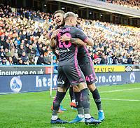 Leeds United's Ezgjan Alioski (number 10) celebrates scoring the opening goal with team-mate Mateusz Klich<br /> <br /> Photographer Chris Vaughan - CameraSport<br /> <br /> The EFL Sky Bet Championship - Huddersfield Town v Leeds United - Saturday 7th December 2019 - John Smith's Stadium - Huddersfield<br /> <br /> World Copyright © 2019 CameraSport. All rights reserved. 43 Linden Ave. Countesthorpe. Leicester. England. LE8 5PG - Tel: +44 (0) 116 277 4147 - admin@camerasport.com - www.camerasport.com