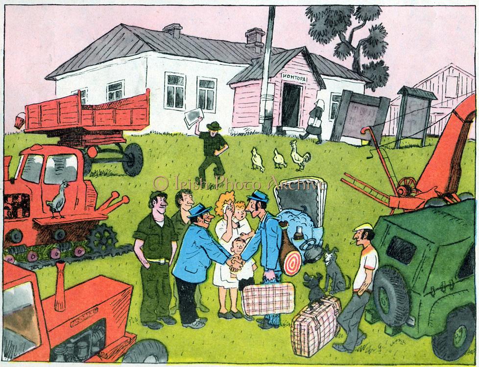Soviet Russian cartoon satire on state farming. 1970's