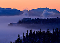 The ice fog hugs the clay cliffs above the City of Whitehorse at -38C