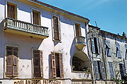 Calvi, Corsica, France in late 1950s old historic building frontage Hotel Modern