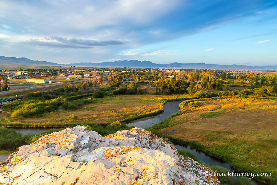 The town of Dillon, Montana from bluff above the Beaverhead River at Clarks Lookout State Park