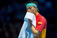 Kei Nishikori of Japan looks dejected during the Nitto ATP World Tour Finals at the O2 Arena, London, United Kingdom on 13 November 2018.Photo by Martin Cole