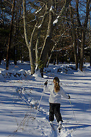 Jessica Laman cross country skiing in the New England countryside.