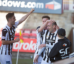 Dunfermline's Michael Moffat cele scoring their third goal. <br /> Dunfermline 7 v 1 Cowdenbeath, SPFL Ladbrokes League Division One game played 15/8/2015 at East End Park.
