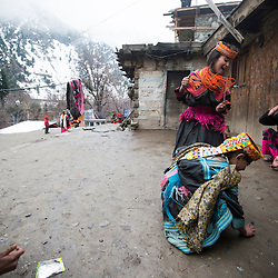 Bumburet, Chitral District,Pakistan.Pic Shows  Kalash kids in their village in the valley of Bumburet