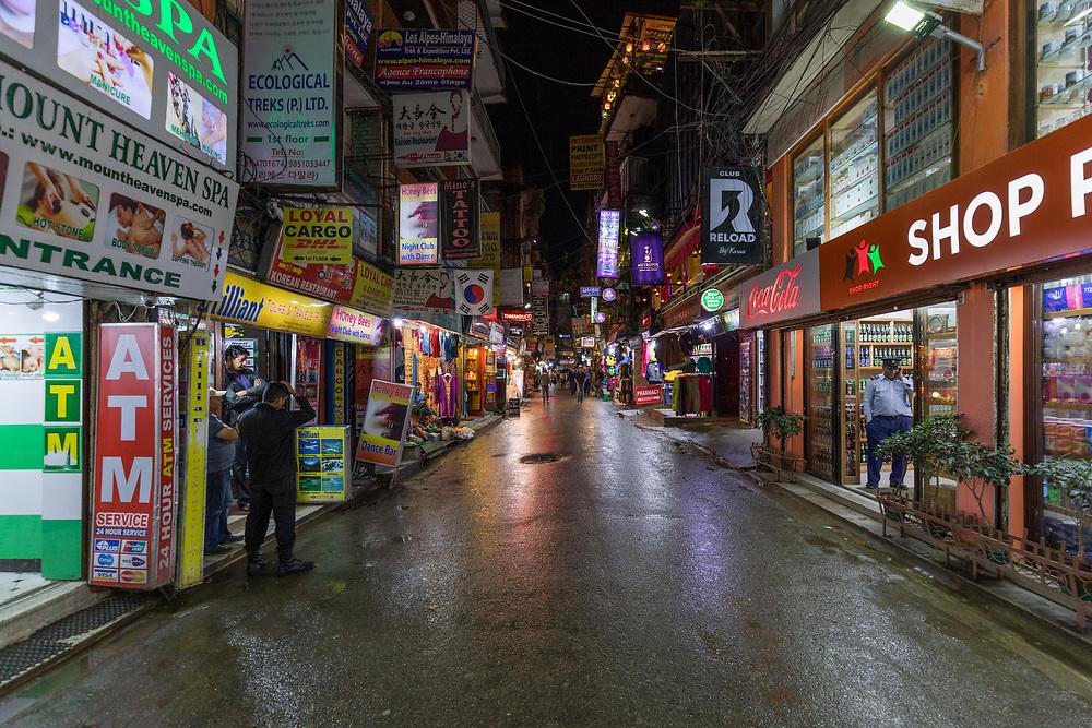 Downtown Thamel, Nepal at night