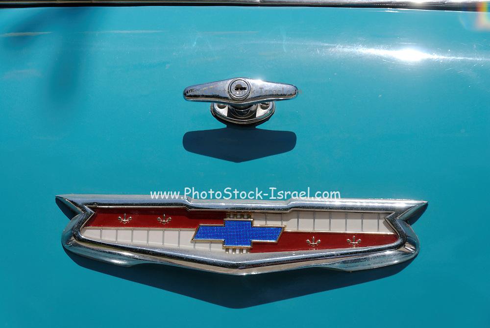 Vintage car Blue 1957 Chevrolet station wagon 210 rear view