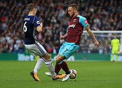 Marko Arnautovic of West Ham United collides with Jonny Evans of West Bromwich Albion - Mandatory by-line: Paul Roberts/JMP - 16/09/2017 - FOOTBALL - The Hawthorns - West Bromwich, England - West Bromwich Albion v West Ham United - Premier League