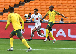 South Africa: Johannesburg: Bafana Bafana player Sandile Hlanti battle for the ball with Seychelles player Karl Hopprich during the Africa Cup Of Nations qualifiers at FNB stadium, Gauteng.<br />Picture: Itumeleng English/African News Agency (ANA)