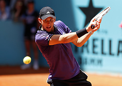May 9, 2019 - Madrid, Madrid, Spain - Dominic Thiem of Austria seen in action against Fabio Fognini of Italy during day seven of the Mutua Madrid Open at La Caja Magica in Madrid, Spain. (Credit Image: © Manu Reino/SOPA Images via ZUMA Wire)