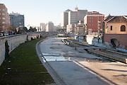 Dry concrete course of the River Rio Guadalmedina in Malaga, Spain