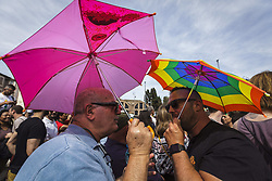 June 10, 2017 - Rome, Italy - Demonstrators take part in the 23rd annual Gay Pride Parade. Tens of thousands of members of Italian LGBTQI (Lesbian, Gay, Bisexual, Transgender, Queer and Intersex) communities and supporters of gay rights attend the annual Gay Pride Parade in downtown Rome to demand legal rights for same-sex couples and against homophobia. (Credit Image: © Giuseppe Ciccia/Pacific Press via ZUMA Wire)