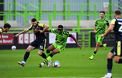 Ebou Adams of Forest Green Rovers competes with Danny Newton of Stevenage- Mandatory by-line: Nizaam Jones/JMP - 17/10/2020 - FOOTBALL - innocent New Lawn Stadium - Nailsworth, England - Forest Green Rovers v Stevenage - Sky Bet League Two