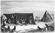 Patagonians in the 'toldo' or skin tent. On right is the tomb of a child who has recently died and facing it are the stuffed skins of two horses who have been sacrificed. From William Parker King  'Narrative of the Surveying Voyages of His Majesty's Ships Adventure and Beagle' Vol.I, London 1839. This was the expedition on which Charles Darwin acted as naturalist.