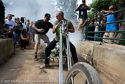 Burn-Out pit at the Tennessee Motorcycles and Music Revival at Loretta Lynn's Ranch. Hurricane Mills, TN, USA. Saturday, May 22, 2021. Photography ©2021 Michael Lichter.