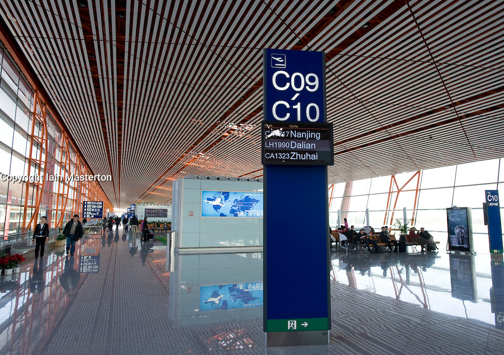 Interior view of new Terminal 3 building at Beijing International Airport designed by Sir Norman Foster 2009