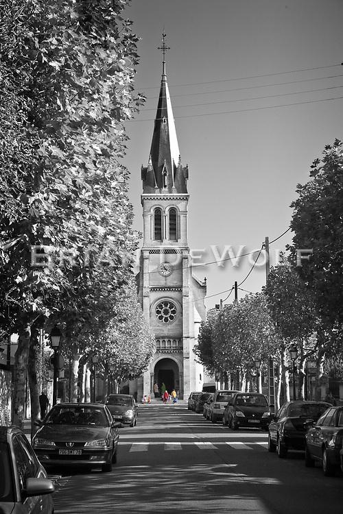 Parishioners entering St. Leonard Church in Croissy-sur-Seine, France.  Aspect Ratio 1w x 1.5h.