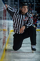 KELOWNA, CANADA - MARCH 14:  Linesman Dustin Minty stretches on the ice during warm up against the Prince George Cougars on March 14, 2018 at Prospera Place in Kelowna, British Columbia, Canada.  (Photo by Marissa Baecker/Shoot the Breeze)  *** Local Caption ***