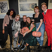 Annaliese Dayes, Lewis-Duncan Weedon, Gail Porter , guest, Emma and John Galea attend Press night an halloween experience at  London Tombs at The London Bridge Experience, UK. 18 October 2018.
