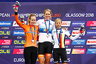 Podium, Time Trial Women 32,3 km , Ellen Van Dijk (Netherlands) gold medal, Anna Van Der Breggen (Netherlands) silver medal, Trixi Worrack (Germany) bronze medal during the Road Cycling European Championships Glasgow 2018, in Glasgow City Centre and metropolitan areas Great Britain, Day 7, on August 8, 2018 - photo Luca Bettini / BettiniPhoto / ProSportsImages / DPPI<br /> - restriction - Netherlands out, Belgium out, Spain out, Italy out