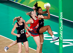 England's Joanne Harten (GS) and New Zealand's Temalisi Fakahokotau (GK right) in action in the netball at the Gold Coast Convention and Exhibition Centre during day seven of the 2018 Commonwealth Games in the Gold Coast, Australia.