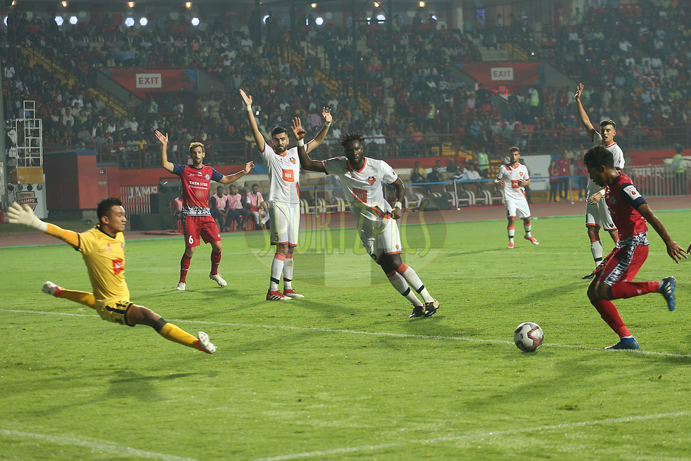 Michael Soosairaj of Jamshedpur FC scores during match 25 of the Hero Indian Super League 2018 ( ISL ) between Jamshedpur FC and FC Goa held at JRD Tata Sports Complex, Jamshedpur, India on the 1st November  2018<br /> <br /> Photo by: Ron Gaunt /SPORTZPICS for ISL