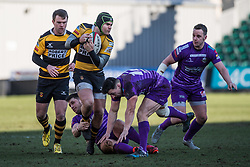 Newport's Tom Pascoe is tackled by Ebbw Vale's Dai Langdon - Mandatory by-line: Craig Thomas/Replay images - 04/02/2018 - RUGBY - Rodney Parade - Newport, Wales - Newport v Ebbw Vale - Principality Premiership