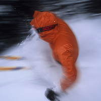 Adam Ryder (MR) skis powder at Bridger Bowl, Montana.