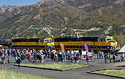 Visitors await their chance to ride the Alaska Railroad at Denali National Park