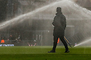 Half-time watering at the Cottage during The FA Cup 3rd round match between Fulham and Oldham Athletic at Craven Cottage, London, England on 6 January 2019.