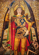 Gothic Altarpiece of the Archangel Gabriel by Jaume Huguet of  Bardalona, circa 1455-1460, tempera and gold leaf on for wood from Santa Maria del Pi, Barcelona.  National Museum of Catalan Art, Barcelona, Spain, inv no: MNAC  37761-2-3-4-5. .<br /> <br /> If you prefer you can also buy from our ALAMY PHOTO LIBRARY  Collection visit : https://www.alamy.com/portfolio/paul-williams-funkystock/gothic-art-antiquities.html  Type -     MANAC    - into the LOWER SEARCH WITHIN GALLERY box. Refine search by adding background colour, place, museum etc<br /> <br /> Visit our MEDIEVAL GOTHIC ART PHOTO COLLECTIONS for more   photos  to download or buy as prints https://funkystock.photoshelter.com/gallery-collection/Medieval-Gothic-Art-Antiquities-Historic-Sites-Pictures-Images-of/C0000gZ8POl_DCqE