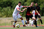 Waitakere United's Eder Franchini Pasten and Canterbury's James Pendrigh compete for the ball. ISPS Handa Premiership, Waitakere United v Canterbury United Dragons, Trusts Stadium, Auckland, Sunday 14th January 2018. Copyright Photo: David Joseph