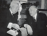 Israeli Prime Minister David Ben Gurion meeting with West German Chancellor Konrad Adenauer in New York, 14 March 1960.