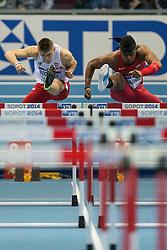 08.03.2014, Ergo Arena, Sopot, POL, IAAF, Leichtathletik Indoor WM, Sopot 2014, im Bild DOMINIK BOCHENEK OMO OSAGHAE 60 m PRZEZ PLOTKI // DOMINIK BOCHENEK OMO OSAGHAE 60 m PRZEZ PLOTKI during day two of IAAF World Indoor Championships Sopot 2014 at the Ergo Arena in Sopot, Poland on 2014/03/08. EXPA Pictures © 2014, PhotoCredit: EXPA/ Newspix/ Radoslaw Jozwiak<br /> <br /> *****ATTENTION - for AUT, SLO, CRO, SRB, BIH, MAZ, TUR, SUI, SWE only*****