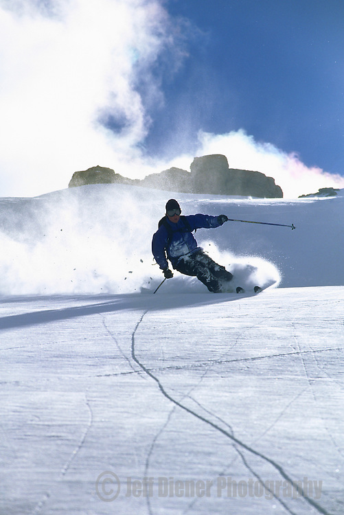 A skier carves a turn at the Jackson Hole Mountain Resort in Jackson Hole, Wyoming.