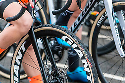 Giant before the Women Elite race, 2019 UCI Cyclo-cross World Cup Heusden-Zolder, Belgium, 26 December 2019. <br /> <br /> Photo by Pim Nijland / PelotonPhotos.com <br /> <br /> All photos usage must carry mandatory copyright credit (Peloton Photos   Pim Nijland)