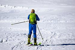 TEMENBILD - ein Skitourengeher steigt über die präparierte Piste zu seinem Tourenziel Resterkogel auf. Pass Thurn, Sonntag 15. März 2020 // A ski tourer climbs up to the Resterkogel on the prepared ski slope. Pass Thurn, Sunday March 15, 2020. EXPA Pictures © 2020, PhotoCredit: EXPA/ Johann Groder
